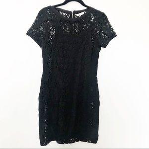 REBECCA TAYLOR Lace Overlay Short Sleeve Dress